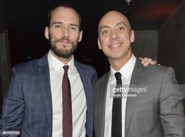 Sam Claflin and Ryan Bartlett pose for portrait at the premiere of STX Films' 'Adrift' after party at Regal LA Live Stadium 14 on May 23 2018 in Los...