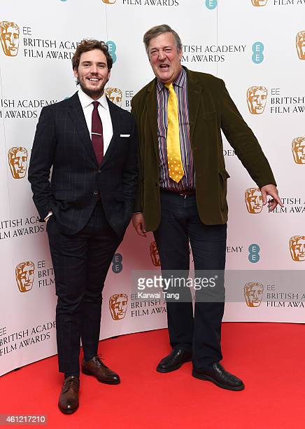 Sam Claflin and Stephen Fry attend as the nominations for the EE British Academy Film Awards are announced at BAFTA on January 9 2015 in London...