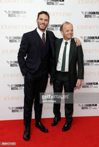 Sam Claflin and Toby Jones attend the Headline Gala Screening European Premiere of 'Journey's End' during the 61st BFI London Film Festival on...