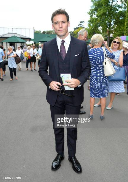 Sam Claflin attends day 3 of the Wimbledon Tennis Championships at the All England Lawn Tennis and Croquet Club on July 03 2019 in London England