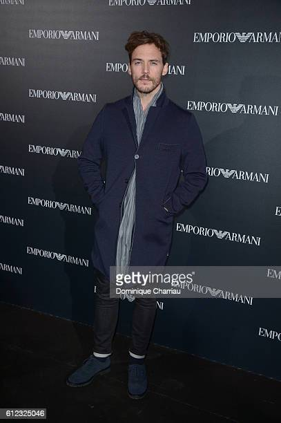 Sam Claflin attends the Emporio Armani show as part of the Paris Fashion Week Womenswear Spring/Summer 2017 on October 3 2016 in Paris France