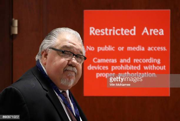 Sam Clovis a former member of the Trump campaign arrives on at the US Capitol December 12 2017 to appear before a closed meeting of the House...