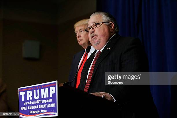 Sam Clovis newly appointed national cochairman of the Trump campaign speaks during a news conference with Donald Trump president and chief executive...