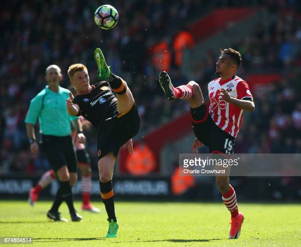 Sam Clucas of Hull City and Sofiane Boufal of Southampton clash during the Premier League match between Southampton and Hull City at St Mary's...
