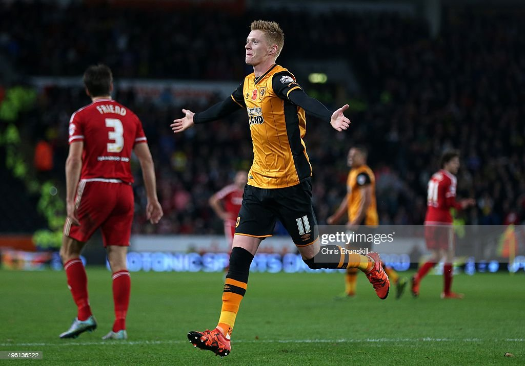 Sam Clucas of Hull City celebrates scoring his side's second goal during the Sky Bet Championship match between Hull City and Middlesbrough at the KC Stadium on November 7, 2015 in Hull, England.