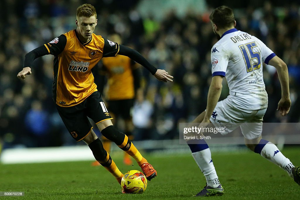 Sam Clucas of Hull City FC controls the ball during the Sky Bet Championship League match between Leeds United FC and Hull City FC on December 5, 2015 in Leeds, United Kingdom.