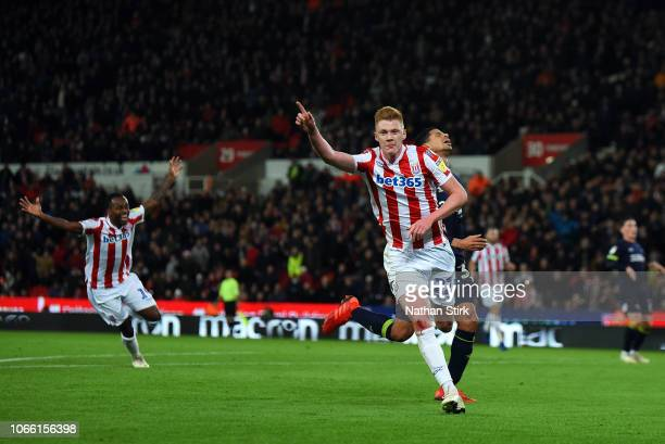 Sam Clucas of Stoke City celebrates scoring the opening goal of the Sky Bet Championship match between Stoke City and Derby County at Bet365 Stadium...