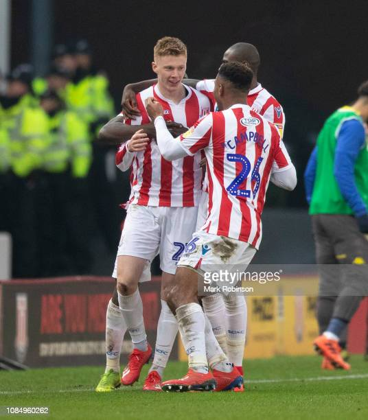 Sam Clucas of Stoke City celebrates with teammates after scoring the opening goal during the Sky Bet Championship match between Stoke City and Leeds...