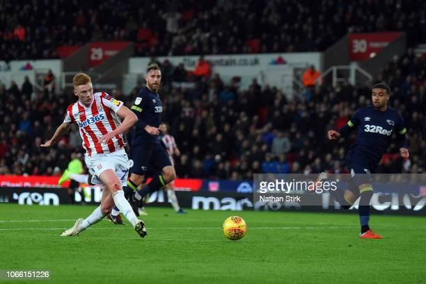 Sam Clucas of Stoke City scores the opening goal during the Sky Bet Championship match between Stoke City and Derby County at Bet365 Stadium on...