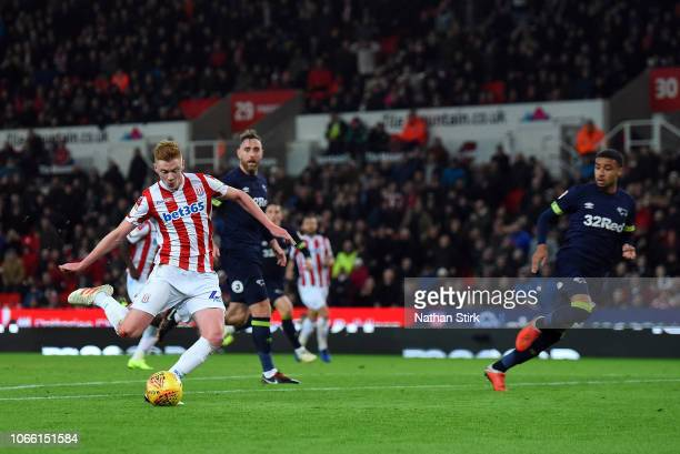 Sam Clucas of Stoke City steps up to score the opening goal of the Sky Bet Championship match between Stoke City and Derby County at Bet365 Stadium...