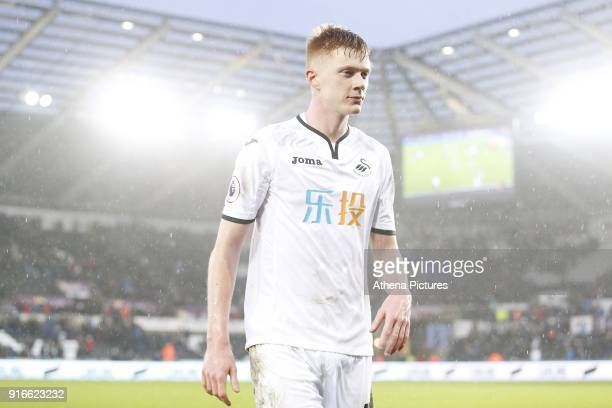 Sam Clucas of Swansea City after the final whistle of the Premier League match between Swansea City and Burnley at the Liberty Stadium on February 10...