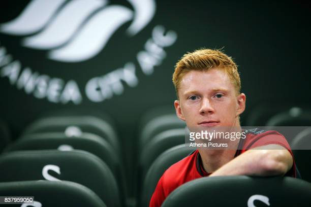 Sam Clucas poses for a portrait after the unveiling of new Swansea City Signing Sam Clucas at The Fairwood Training Ground on August 22 2017 in...
