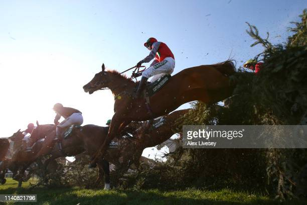 Sam Coltherd riding Captain Redbeard clears The Chair during the Randox Health Grand National Handicap Chase at Aintree Racecourse on April 06, 2019...