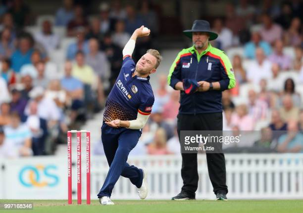 Sam Cook od Essex Eagles bowls during the Vitality Blast match between Surrey and Essex Eagles at The Kia Oval on July 12 2018 in London England