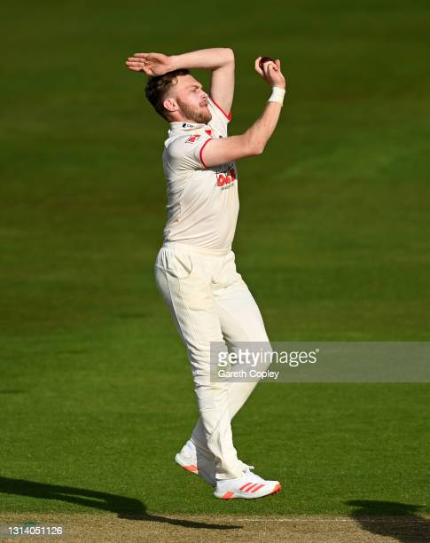 Sam Cook of Essex bowls during the LV= Insurance County Championship match between Warwickshire and Essex at Edgbaston on April 23, 2021 in...