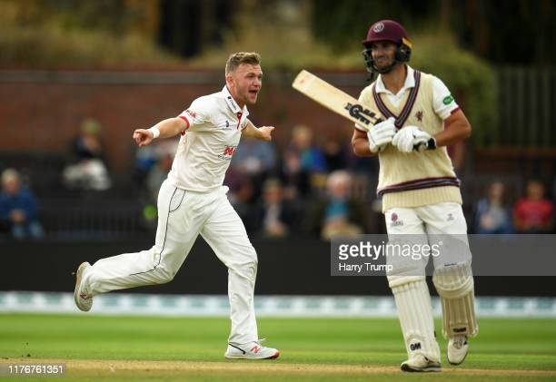 Sam Cook of Essex celebrates after taking the wicket of Lewis Gregory of Somerset during Day Two of the Specsavers County Championship Division One...