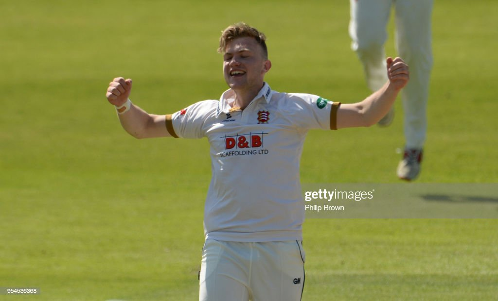 Sam Cook of Essex celebrates his fifth wicket after dismissing Tim Bresnan of Yorkshire during day one of the Specsavers County Championship Division One cricket match between Essex and Yorkshire at the Cloudfm county ground on May 4, 2018 in Chelmsford, England.