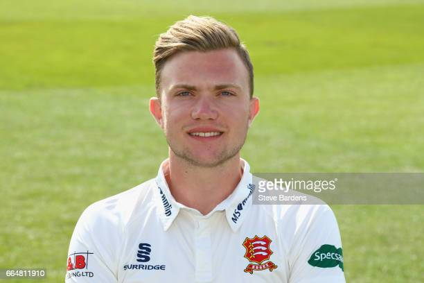 Sam Cook poses in the Specsavers County Championship kit during the Essex CCC photocall at Cloudfm County Ground on April 5 2017 in Chelmsford England