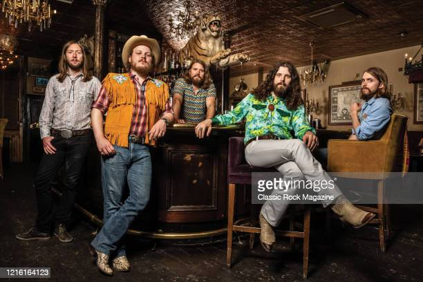 Sam Corbett Jimmy Bowskill Ewan Currie Ryan Gullen and Shamus Curri of Canadian rock group The Sheepdogs photographed at The Kings Head in London on...