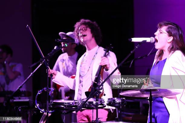 Sam Craft and Alexis Marceaux of Sweet Crude perform onstage at Verve Music Group during the 2019 SXSW Conference and Festivals at Bethel Hall at St...