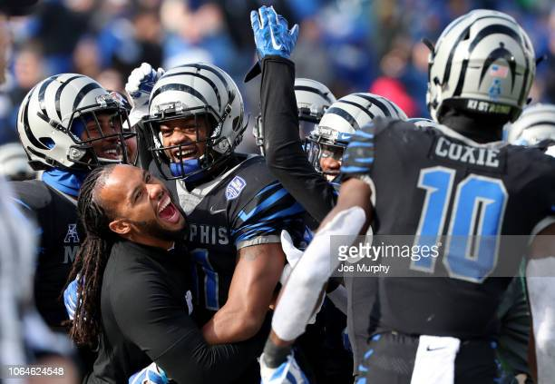 Sam Craft of the Memphis Tigers celebrates a touchdown against the Houston Cougars during the 2nd half on November 23, 2018 at Liberty Bowl Memorial...