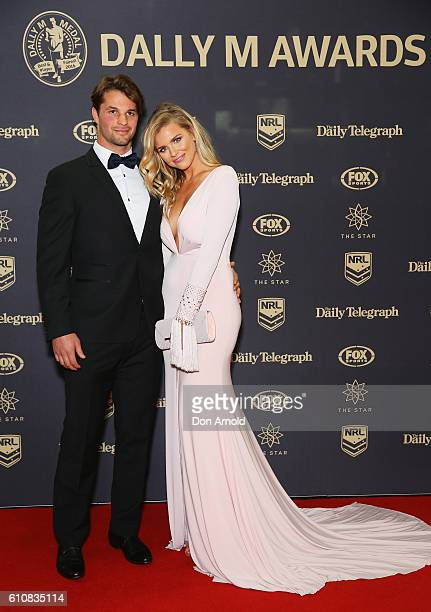 Sam Croke and Tegan Martin arrive at the 2016 Dally M Awards at Star City on September 28 2016 in Sydney Australia