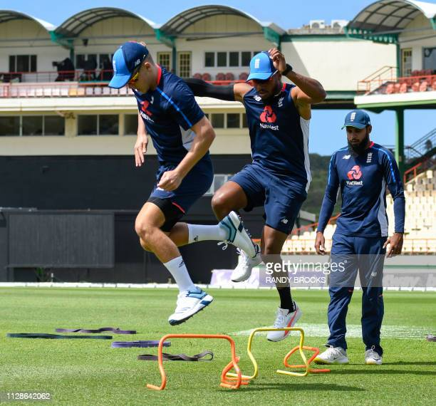 Sam Curran Chris Jordan and Adil Rashid of England take part in a training session one day ahead of the 1st T20I between West Indies England at...