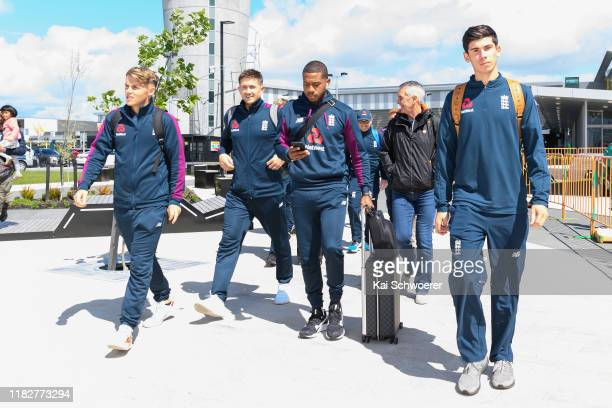 Sam Curran Joe Denly Chris Jordan and Pat Brown of the England cricket squad arrive in New Zealand ahead of their tour on October 23 2019 in...