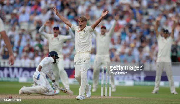 Sam Curran of England appeals and dismisses Hardik Pandya of India during the second day of the 1st Specsavers Test Match between England and India...