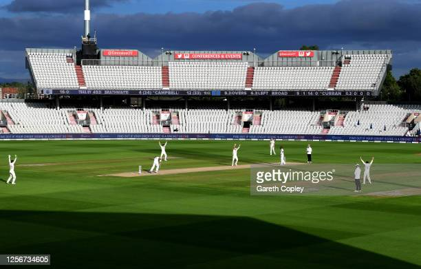 Sam Curran of England appeals successfully for the wicket of John Campbell of West Indies during Day Two of the 2nd Test Match in the #RaiseTheBat...