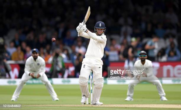 Sam Curran of England bats during day four of the 2nd Specsavers Test between England and India at Lord's Cricket Ground on August 12 2018 in London...