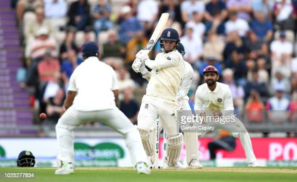 Sam Curran of England bats during the Specsavers 4th Test match between England and India at The Ageas Bowl on August 30 2018 in Southampton England