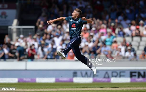 Sam Curran of England celebrates after dismissing Ashton Agar during the fifth Royal London One-Day International match between England and Australia...