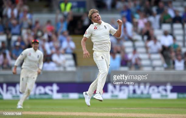 Sam Curran of England celebrates dismissing Hardik Pandya of India during day two of the Specsavers 1st Test between England and India at Edgbaston...