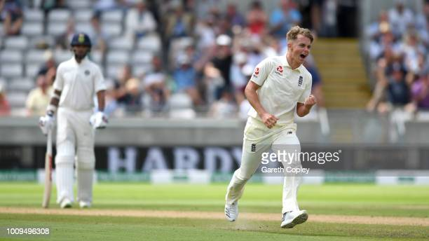 Sam Curran of England celebrates dismissing Lokesh Rahul of India during day two of the Specsavers 1st Test between England and India at Edgbaston on...