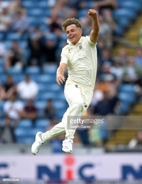 Sam Curran of England celebrates dismissing Shadab Khan of Pakistan during day three of the 2nd NatWest Test match between England and Pakistan at...
