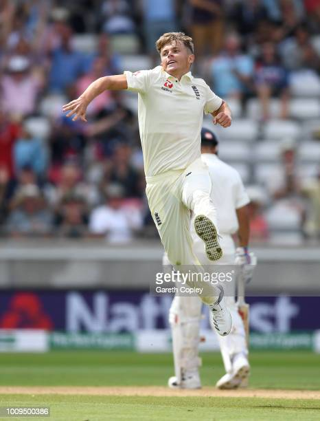 Sam Curran of England celebrates dismissing Shikhar Dhawan of India during day two of the Specsavers 1st Test between England and India at Edgbaston...