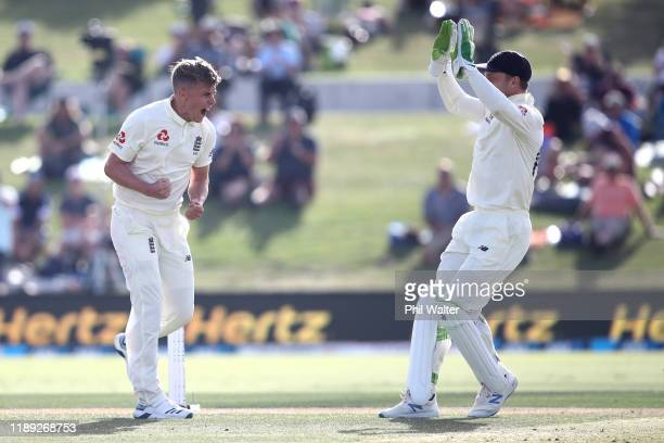 Sam Curran of England celebrates his wicket of Kane Williamson of New Zealand during day two of the first Test match between New Zealand and England...