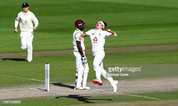 Sam Curran of England celebrates taking the wicket of Sharmarh Brooks of West Indies during Day Five of the 2nd Test Match in the #RaiseTheBat Series...
