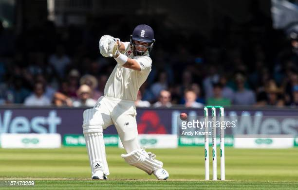 Sam Curran of England drives during day one of the Specsavers 1st Test match between England and Ireland at Lord's Cricket Ground on July 24 2019 in...