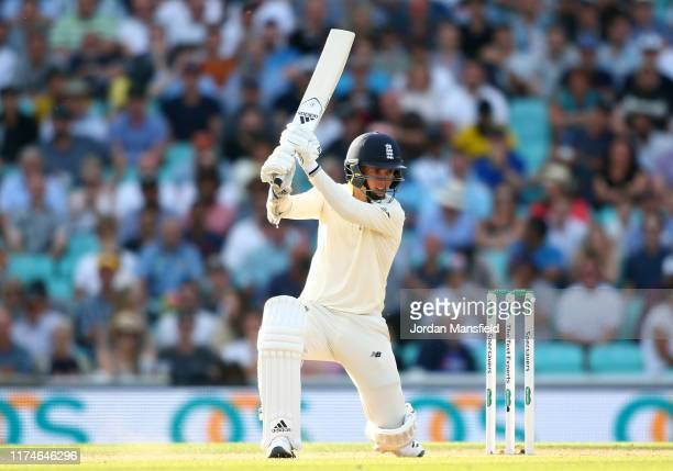 Sam Curran of England hits out during day three of the 5th Specsavers Ashes Test between England and Australia at The Kia Oval on September 14 2019...