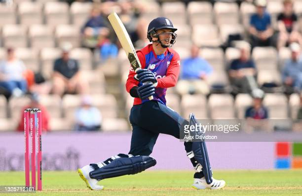 Sam Curran of England hits runs during the T20 International Series Third T20I match between England and Sri Lanka at The Ageas Bowl on June 26, 2021...