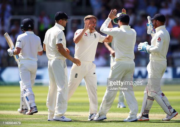 Sam Curran of England is congratulated for taking Captain William Porterfield of Ireland's wicket during day one of the Specsavers Test Match between...