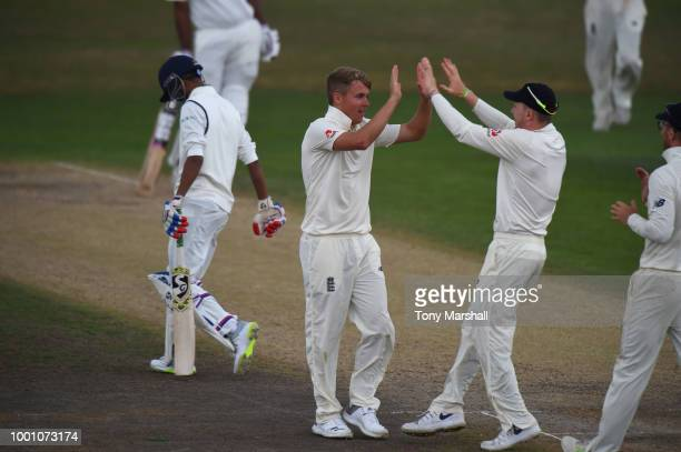 Sam Curran of England Lions celebrates taking the wicket LBW of Shahbaz Nadeem of India A during Day Three of the Tour Match between England Lions...