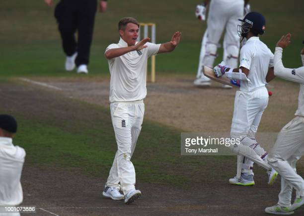 Sam Curran of England Lions celebrates taking the wicket LBW of Ajinkya Rahane of India A during Day Three of the Tour Match between England Lions...