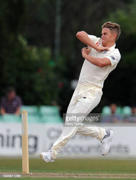 Sam Curran of England Lions during Day Two of the Tour Match match between England Lions and India A at New Road on July 17 2018 in Worcester England