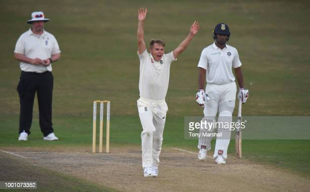 Sam Curran of England Lions makes an appeal during Day Three of the Tour Match between England Lions and India A at New Road on July 18 2018 in...