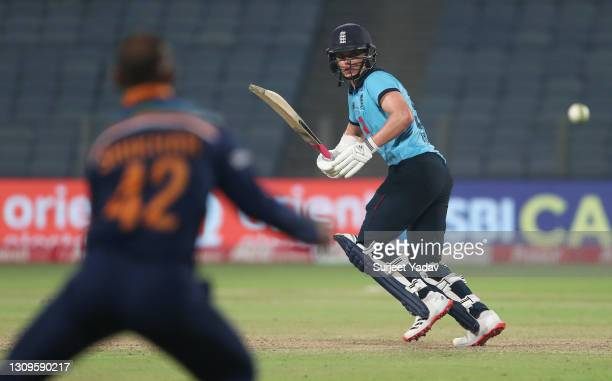 Sam Curran of England plays a shot during the 3rd One Day International match between India and England at MCA Stadium on March 28, 2021 in Pune,...