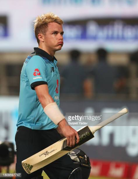 Sam Curran of England reacts following the 3rd One Day International match between India and England at MCA Stadium on March 28, 2021 in Pune, India.