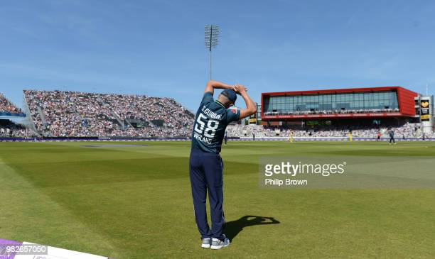 Sam Curran of England stretches during the fifth Royal London OneDay International match between England and Australia at Emirates Old Trafford...